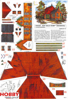 """Bouwplaat Friese """"Kop-Hals-Romp"""" Boerderij A16"""
