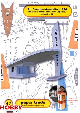 Bouwplaat Art Deco bezinestation 1954 1:60