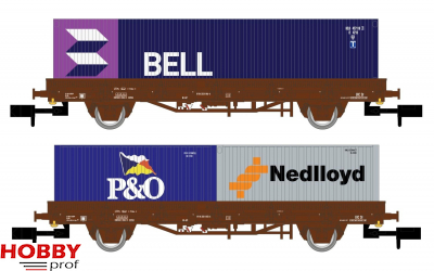 NS, 2-unit set flat wagons Kbs, brown livery, loaded with one 40' container BELL and two 20' container Nedlloyd and P&O