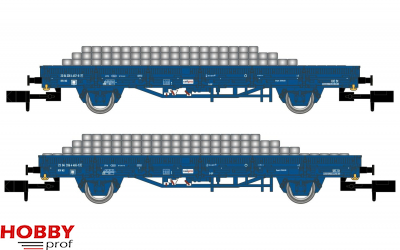 NS, 2-unit set flat wagons with side walls, blue livery, Railpro, loaded with concrete sleepers, period V-VI